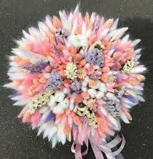 Dried Flowers Pink, <b>White</b> and Violet Bouquet Букет из лагуруса и ...
