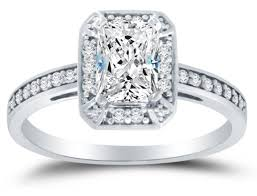 gold cubic zirconia wedding rings. amazon.com: solid 14k white gold highest quality cz cubic zirconia halo engagement ring - emerald-cut / shape solitaire with round side stones (1.25cttw., wedding rings l