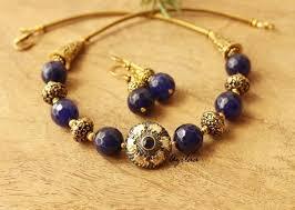 antique gold tone blue stone necklace set statement necklace