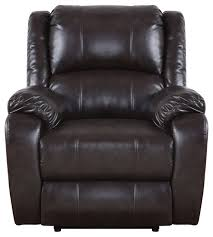plush bonded leather power electric recliner chair brown