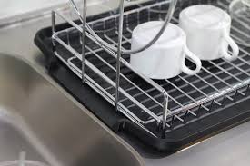handled dish rack fe e amazoncom deluxe chrome plated steel  tier dish rack with drainboard c