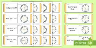 Quarter Cards Oclock Half Past Quarter Past And Quarter To Loop Cards