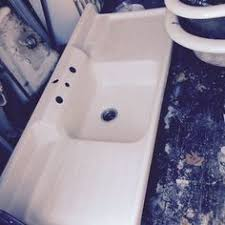 vintage farmhouse double basin sink stamped metal porcelain