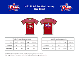 Flag Size Chart Flag Football Jersey Sizing Chart