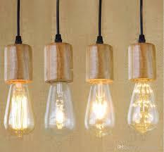 Hanging Lamp Base E27 Vintage Retro Edison Lamp Base Wood Holder