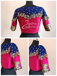 Blue Color Saree Blouse Designs Beautiful Pink And Royal Blue Color Trendy Bridal Designer