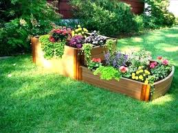 Small Backyard Landscape Designs Simple Flower Garden Bed Ideas Raised Beds Design Against House R