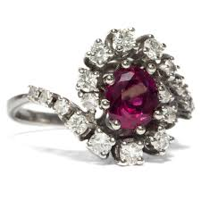 details about vine 585 white gold ring with ruby diamonds enement ring ruby diamond