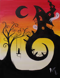 house on haunted hill step by step acrylic painting on canvas for beginners you
