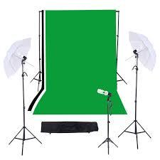 photography studio triple lighting kit with muslins backdrops light stands umbrellas light bulb e27 swivel socket