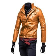 men leather jacket zipper cool motorcycle biker pu coat slim fit tousis net bd
