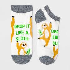 "Women's ""<b>Drop It Like</b> A Sloth"" Low Cut Socks - Xhilaration™ White ..."