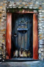 original oil painting old door 35 x 24 canvas large palette knife impasto oil contemporary wall art stones wooden door red blue