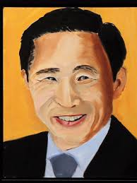 a portrait of former south korean president lee myung bak painted by george w