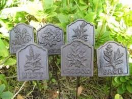 set of 6 cast iron herb signs sage rosemary parsley thyme oregano mint