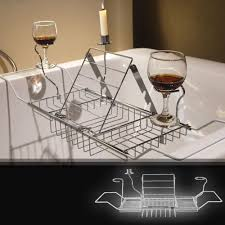 china 304 stainless steel over bath tub racks shower organizer bathtub caddy tray with extending sides wine glass holder and adjule book holder