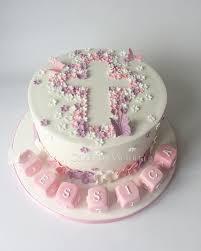 Ditsy Flower Baby Girl Christening Cake With Cute Little Letter