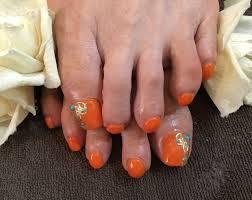 Nail Salon Freestyleゴールドターコイズが夏らしいビビットオレンジ