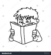 closeup little boy reading a book vector ilration sketch hand drawn isolated on white background