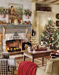 living room with fireplace with vintage christmas decorations