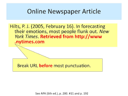 Ppt Formatting Newspaper Articles Apa 6th Ed Powerpoint