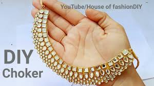 How To Make Designer Necklace How To Make Designer Kundan Choker At Home Latest Jewellery Party Ware Necklace