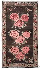 brown pink vintage karabakh kilim rug