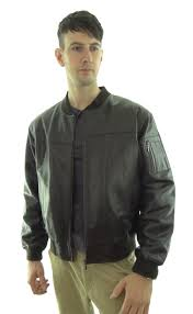 men s ma1 leather er jacket available in brown black and brown snuff look