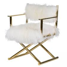 directors chair with faux mongolian fur
