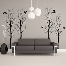 Black winter tree wall decals with 6 flying birds spaced apart in various  locations all placed