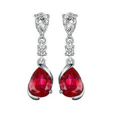 <b>JewelryPalace</b> 1.9ct Pear Red <b>Created Ruby</b> Dangle Earrings 925 ...