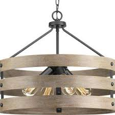 gulliver 4 light graphite drum pendant with weathered gray wood accents