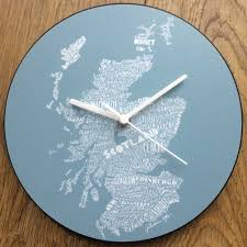 country scotland map scottish kitchen wall clock by gillian kyle