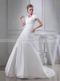 short sleeved pleated taffeta wedding dress with applique