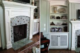 mosaic tile fireplace surrounds ideas plus tarditional family room sy