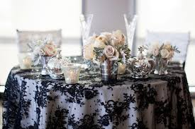 image of luxury black linen round tablecloth