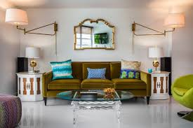 Lighting sconces for living room Leaf Wall Contemporary Living Room By Lourdes Gabriela Interiors Houzz Ways To Use Plugin Sconces To Improve Your Lighting Scheme