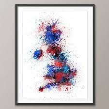 art print poster frame not included red blue version on poster wall art uk with great britain uk paint splashes map by artpause notonthehighstreet