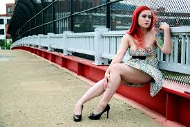 Sexy legs red head