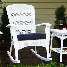 tortuga outdoor portside wicker rocking chair with navy cushion