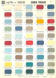 1968 Ford Color Chart Color Chart For 1959 1968 Ford