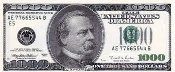 Image result for 1 000 dollar bill