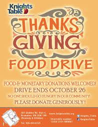 Food Drive Posters Thanksgiving Food Drive Knights Table