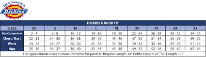 Dickies Juniors Size Chart 49 Valid Dickies Junior Size Chart