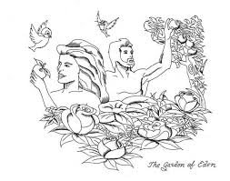 Small Picture Adam and Eve Rebellion to Lord God in Garden of Eden Coloring Page