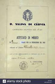 Italy Emilia Romagna Cervia Salt Museum Certificate Of Merit Of