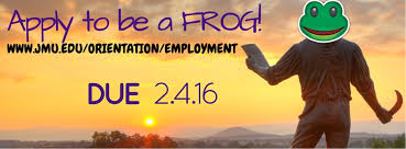 james madison university hop on it frog applications are due on  frog applications banner