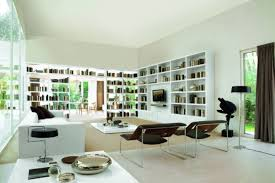 japanese style office. Japanese Style Home Office With Living Room Surrounded By Bookshelves Wall As Modern Interior Design Concept I