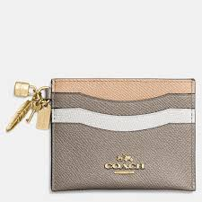 Lyst - Coach Charm Flat Card Case In Colorblock Leather in Metallic