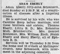 Obituary for ADAM EBERLY - Newspapers.com